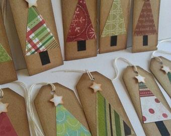 Christmas tree tags, Christmas tags, Holiday tags, Gift tags, Rustic Christmas tags, Set of 12 or 25