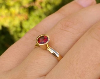 womens statement ring, garnet gold ring, anniversary garnet ring, Womens gold Ring, garnet Statement Ring, high gold ring, gift for her
