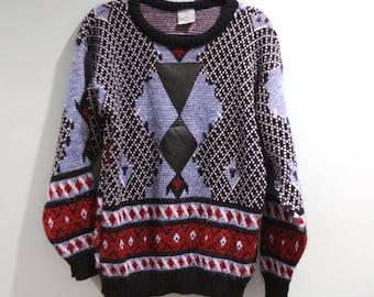 Vintage Sergio Valente Sweater Mens Size XL 80s 90s Multi Colored Hip Hop