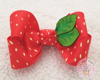 Strawberry Hair Bow, Hand Painted Bow, Baby Headband, Strawberry 1st birthday party, Strawberry outfit bow, fruit bow, Summer Cake Smash Bow