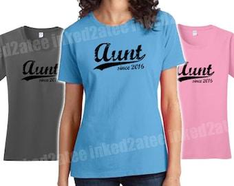 Aunt since any year womens Tshirt custom