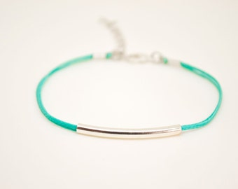 Silver bar bracelet, turquoise cord bracelet with a silver plated tube, teal string, stack bracelet, minimalist jewelry, gift for her