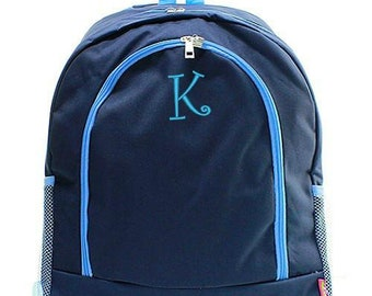Monogrammed Backpack Personalized Solid Navy Aqua Backpack Personalized Backpack Kids Backpack Girls Backpack Boys Backpack