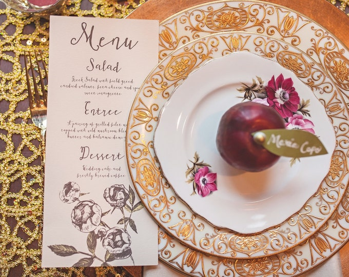 4x8 Natural Floral Wedding Table Dinner Menu on Ivory Paper with Brown & Green Flowers