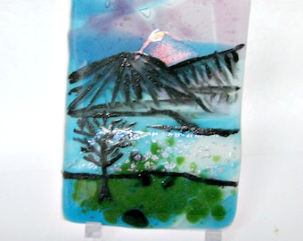 Fused Glass ACEO - Sunset on the Landscape ACEO