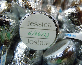Basic Personalized Hershey Kiss Wedding Sticker two colors