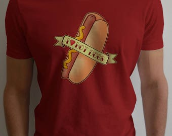 I LOVE HOT DOGS Shirt - Foody Design in Classic Tattoo Style - Yummy Hot Dog in a Bun with Mustard