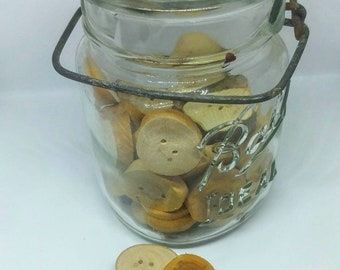 Apple wood button, hand crafted button