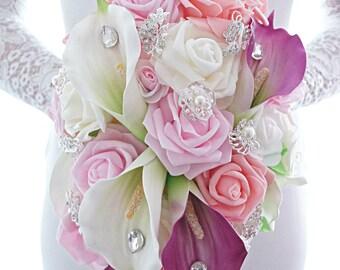 Bouquet Jasmin, cascade bouquet, calla lily, brooch bouquet