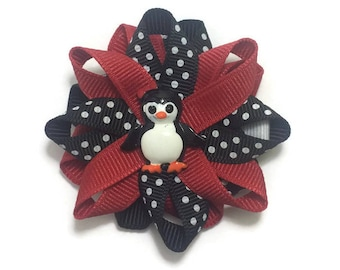Red & Black Penguin Hair Bow, Winter Hair Bow, Loopy Hair Bow, No Slip Hair Bow, Hair Bow Clip, Handmade Hair Bow, Christmas Hair Bow