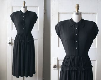 Vintage 1940s Black Rayon Crepe Dress / 40s Collared Dress w/ Celluloid Buttons / Lucretia Dress
