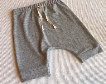 baby toddler kids harem shorts - kids shorts- ribbed sweater knit shorts- grey-hipster baby -made to order- gender neutral