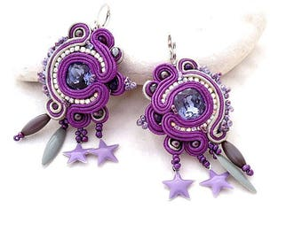 Amethyst soutache statement earrings , ultra violet pantone color 2018  jewelry trends , hoop earrings with charm