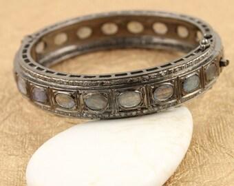 Pave Diamond Bangle, Pave Labradorite Bangle, Pave Diamond Bracelet, Labradorite Bracelet, Pave Labradorite, Oxidized Silver. (Bangle-004)