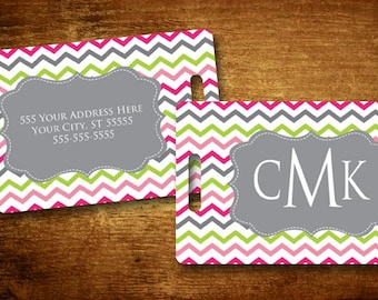 Luggage Tag | Personalized Bag/Luggage Tag | Kids Backpack Tag | Diaper Bag Tag | Custom Bag Tag | Travel Accessory | Cheery Chevron