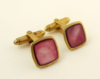 Vintage Cufflinks Small Pink Square Gold Tone