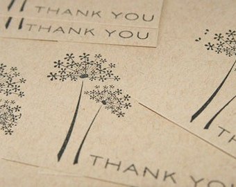 Flower Note Cards Thank You Set of Eight Hand Made Stationery, Stamped Thank You Notes