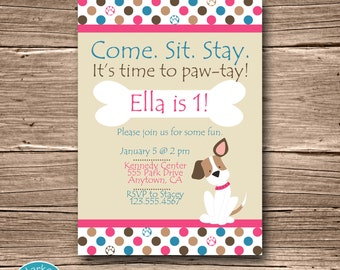 Pink Puppy Birthday Party Invitation, Printable Puppy Birthday Invite, Dog, DIY, Digital, Personalized, Pink, Blue, Girl Puppy, Polka Dot