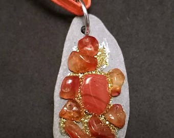 Carnelian Pebble Pendant with Natural Healing Crystals