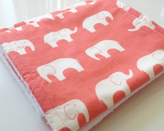 Elephant burp cloths, Baby shower gift, Baby girl spit up rags, Coral burp cloths, Organic burping cloths, Baby girl burp cloths, Pink burp
