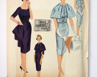 UNCUT Vogue Couturier Design Pattern # 174 Bust 34 Size 14 One Piece Dress and Jacket