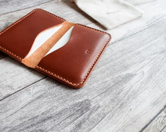 Leather Card Holder | Slim Wallet Minimalist card Sleeve leather | front pocket | awesome groomsmen gift COGNAC  | 100% HANDMADE
