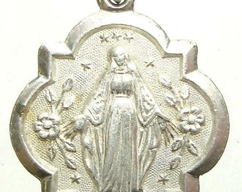 "Our Lady of Lourdes Antique Art Nouveau Silver Religious Medal from 1898 on 18"" sterling silver rolo chain"