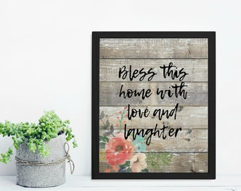 Bless This Home With Love and Laughter Old Wood Rustic Farmhouse Country Cottage Chic Digital Print INSTANT DOWNLOAD