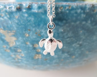 Sterling silver turtle necklace, turtle necklace, silver necklace