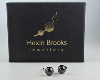 Black Swarovski Pearl Stud Earrings