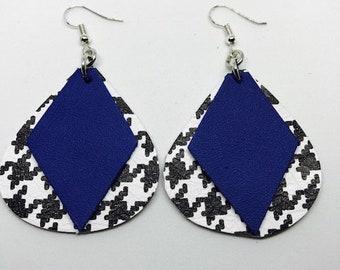 Leather, Leather earrings, Earrings, Teardrop earrings, Houndstooth earrings, Diamond shape leather, Drop earrings, Statement earrings