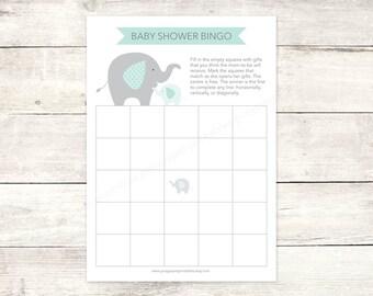 baby shower bingo game card printable DIY elephants sage green grey cute baby digital shower games - INSTANT DOWNLOAD