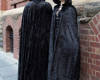 Long Black Crushed Velour Cloak