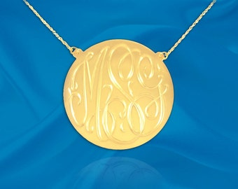 Monogram Necklace - .75 inch 24K Gold Plated Sterling Silver Hand Engraved Personalized Monogram - Made in USA