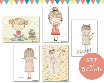 set of 5 cards - girls