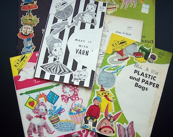 Vintage Retro Craft Instruction Booklets Gifts Yarn Upcycling Recycling Lot of Six