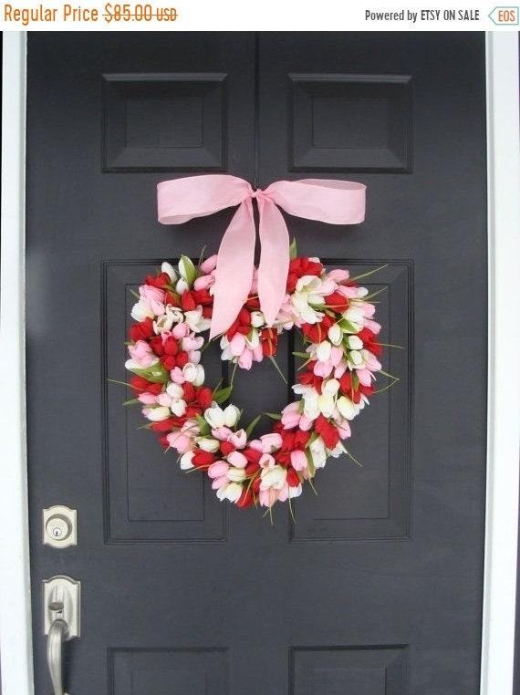 SUMMER WREATH SALE Valentine's Day Wreath Red Tulip Valentines Day Decor Red Hearth Wreath Wedding Decor Spring Wreath I Love You