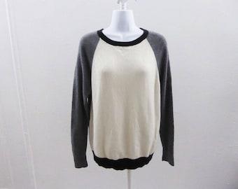 100% Cashmere Sweater Size M Gray Cream Black Trim Scoop Neck Ann Taylor Tunic