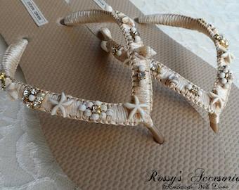 Champagne & Gold Beach Flip Flops / Bohemian Style Bridal Flip Flops / Beach Wedding Shoes / Summer Beach Flip Flops / Bridesmaid Shoes.
