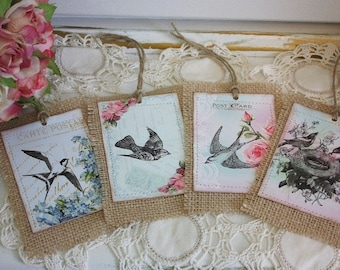 Gift tags burlap,vintage birds with cottage roses,post cards,shabby chic