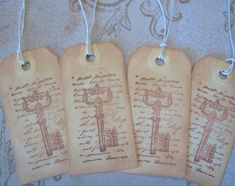 Vintage Skeleton Key Gift Tags - 4  Small Tags