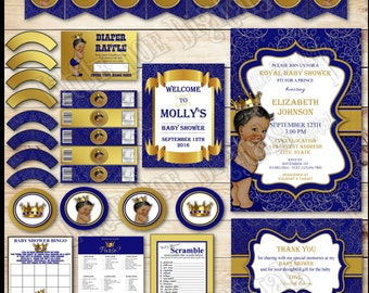 DIGITAL - African American Prince Baby Shower Printable Party Package - Invitation Thank You Cupcake Raffle Ticket Banner Labels Games