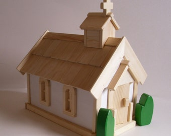 Made to order, Wooden Toy Country Church Play Set, Gender Neutral Toy, Spiritual Decor, Sunday School, House of Worship, Jacobs Wooden Toys