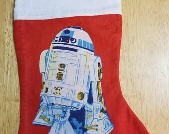 Star Wars red felt stocking with vintage R2D2 applique