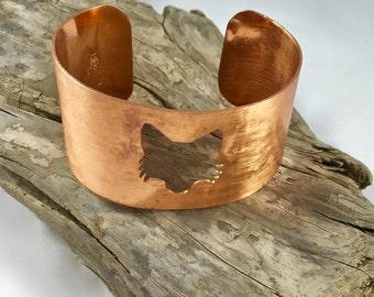 copper cuff bracelet - copper anniversary - fox bracelet - fox jewelry - copper cuff - woodland jewelry - seventh anniversary gift