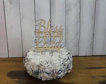 Segne dieses Kind Cake Topper/Namen/IHREN Namen/personalisierte/Partei Dekor/Kuchen Dekor/Taufe/Kommunion/Konfirmation