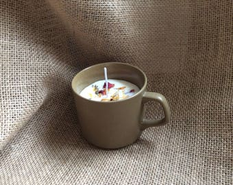 Soy wax candle in an English ceramic coffee cup