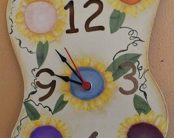 Wooden wall clock handpainted with sunflowers