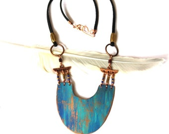 Copper Shield Pendant with Blue Ombre Patina Necklace (P3020)