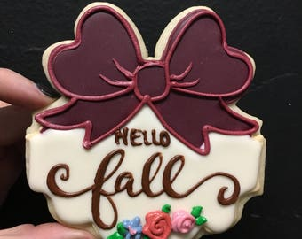 Hello fall bow plaque cookies